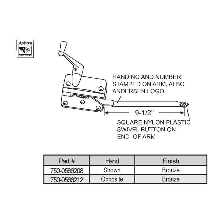 Andersen Sill Mounted Casement Operator 750 0566208